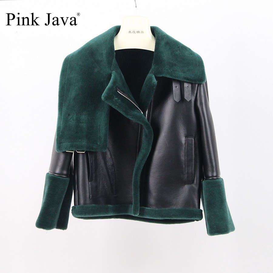 pink java QC8104 2017 new fashion fur coat women winter real Australian merino sheep fur JACKET high quality PU leather JACKET