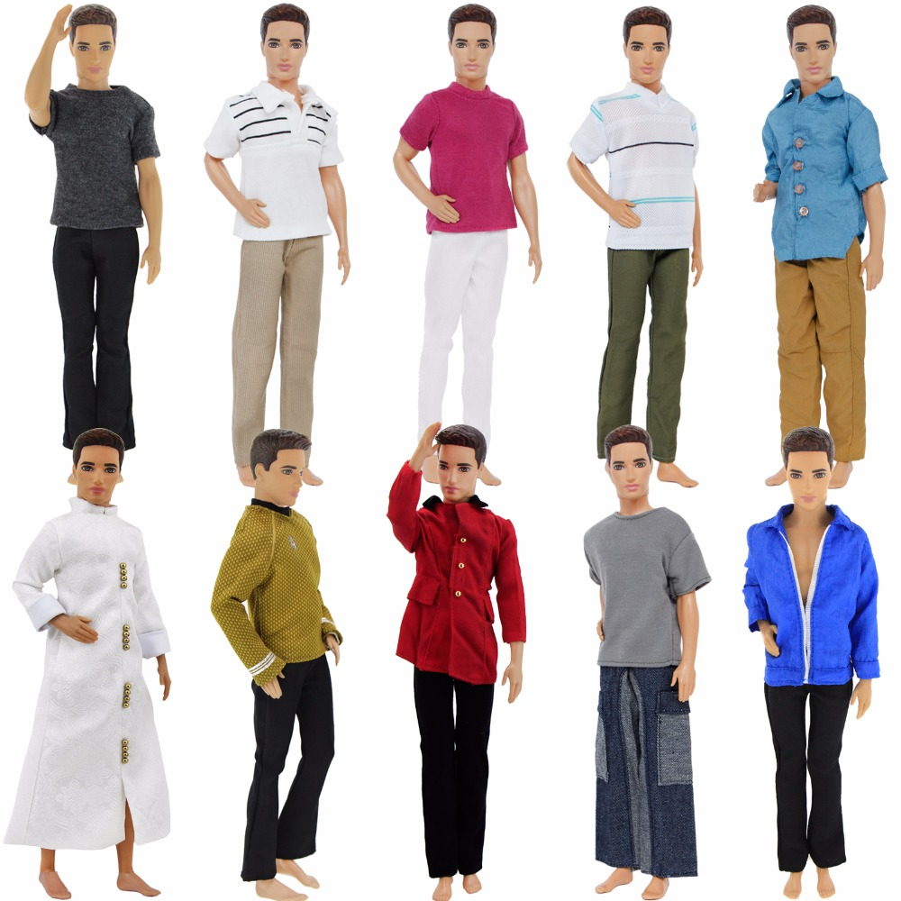 High Quality Men's Outfit Daily Casual Wear T-Shirt Blouse Pants Trousers Clothes For Barbie Doll Friend Ken Accessories Kid Toy nk one set casual wear t shirt trousers summer outfit short pants ken clothes for barbie ken doll accessories wholesale