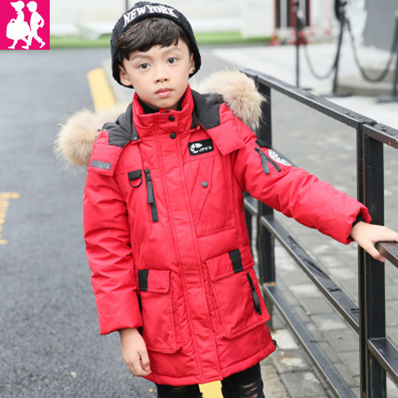 2017 New Children Cold Winter down boys Thickening Warm Down Jackets Boys long Big Fur Hooded Outerwear Coats Kids Down Jacket 2017 new high quality big fur collar women long winter cotton padded coats female warm jacket large size parka outerwear qh0882