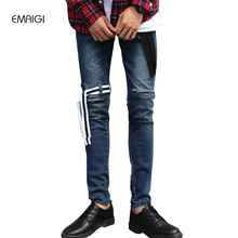 New Fashion Show Stage Clothing Mens Jeans High Quality Hip Hop Denim Trousers Leg Fasten Belt Male Casual Slim Jean Pant