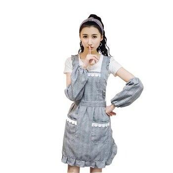 جديد حار الأزياء سيدة النساء المطبخ ساحة القطن عالية الجودة مئزر للطبخ الخبز مطعم المريلة مع الأكمام
