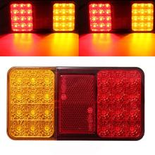 цена на 2 Pcs Car LED Rear Tail Lights Stop Brake Light for Truck Trailer 24V Vehicles Warning Lamp Red Yellow