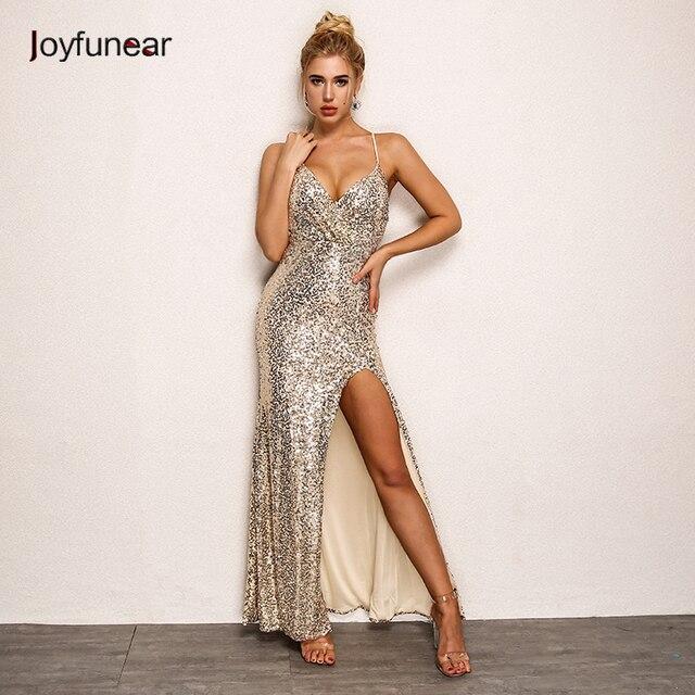 Joyfunear partito delle donne sexy di paillettes maxi vestito lungo Senza  Maniche strap scollo a v dell ab93ac94489