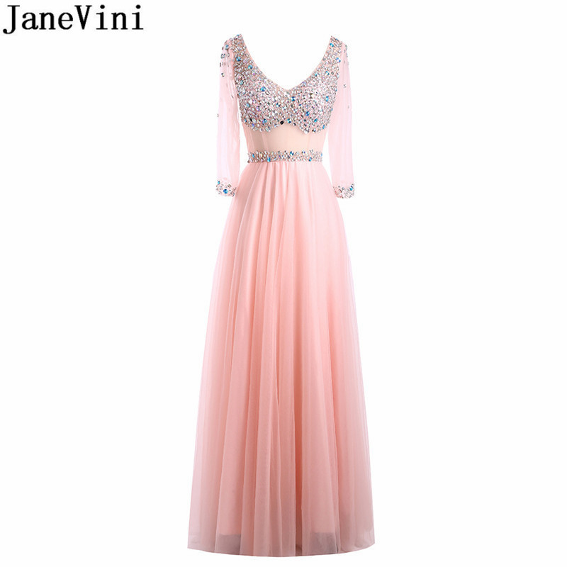 JaneVini Sparkly Crystal Prom Dresses Long 2019 Half Sleeve Beaded Bridesmaid Dresses Sexy Sheer Waist Tulle Formal Party Gowns