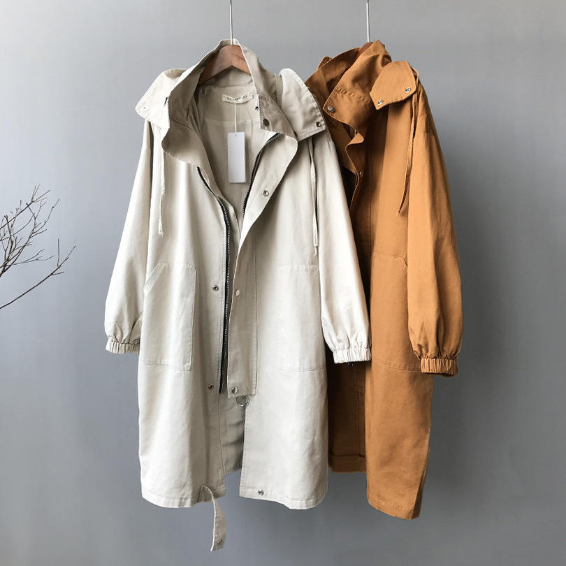 TYHRU Womens Casual Loose Long   Trench   Coat Zipper Hooded Windbreaker Streetwear Coats