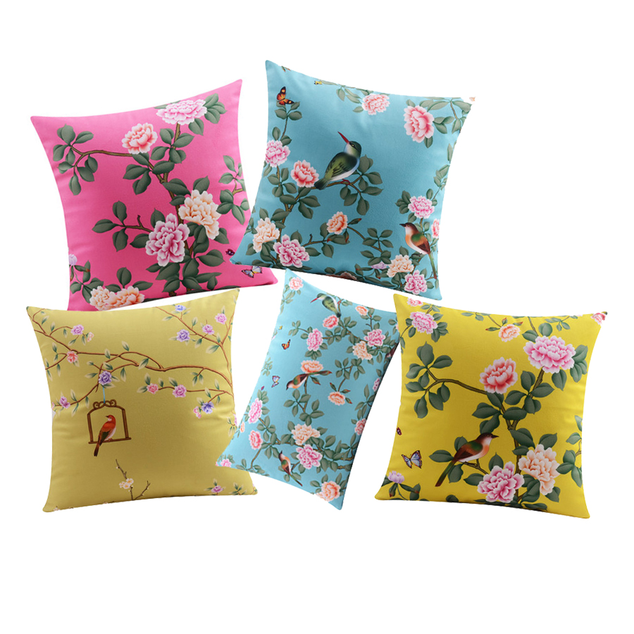 Rose Flower Cushion Covers Geometric Pineapple Soft Pillow Covers