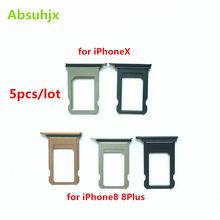 Absuhjx 5pcs Bandeja Do Cartão SIM para o iphone X 8 7 Plus Adaptador Leitor de SIM Card Titular Slot Peças de Reposição