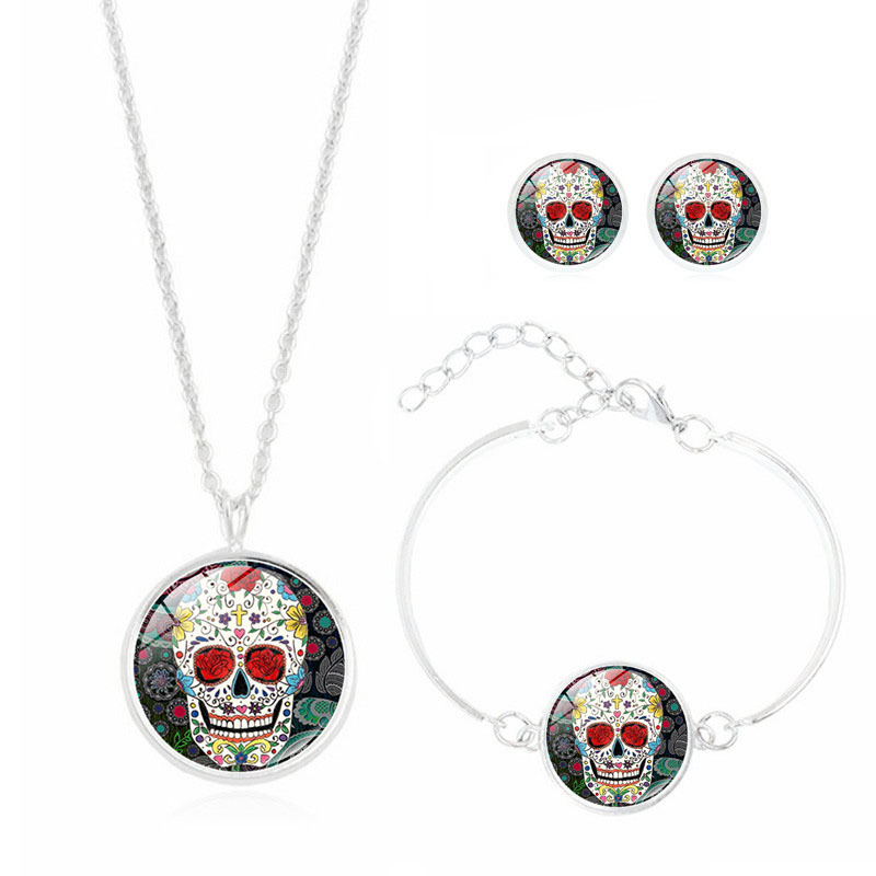 Punk Style Jewlery with Silver Plated Skull Pattern Choker Necklace Earring and Bracelet Set for Women Party
