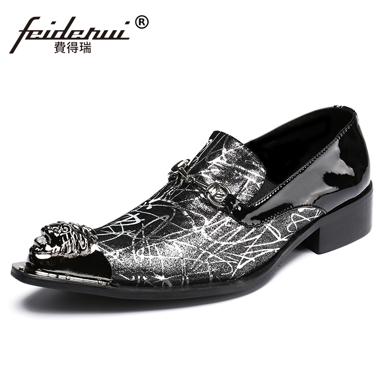 Plus Size Luxury Pointed Toe Slip on Man Runway Loafers Patent Leather Metal Tipped Wedding Party Men's Punk Rocker Shoes SL12