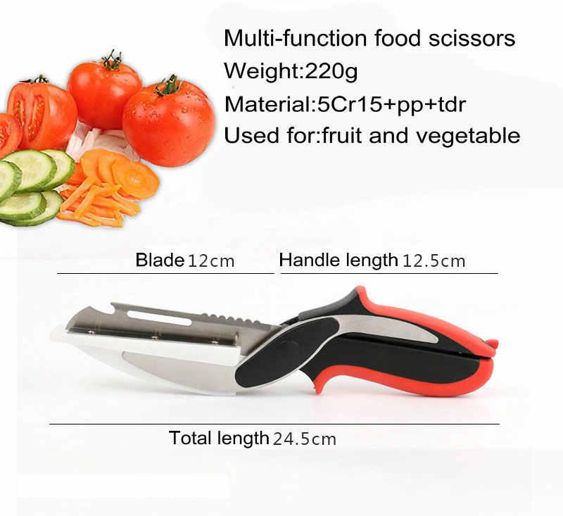 Кухонные ножницы 2 в 1 Универсальный нож и доска смарт шеф-повара из нержавеющей стали наружное мясо картофель сыр, овощи кухня