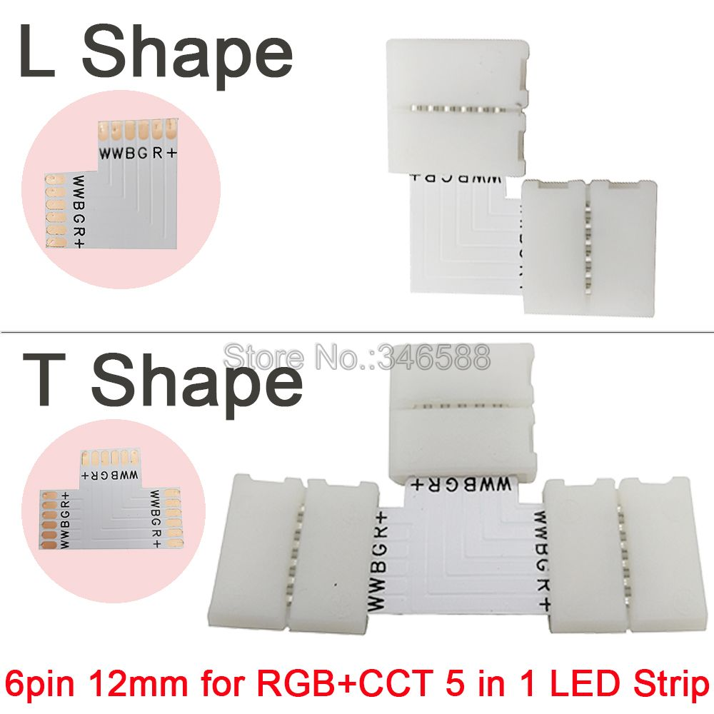 5 pçs/lote 5 pçs/lote 12mm 6PIN 6 Pinos RGB + CCT em Forma de L ou T forma Sem Solda Fácil conector Para RGB CCT Tira CONDUZIDA 6 PIN Conector