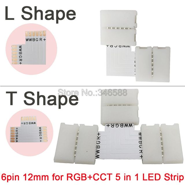 5pcs/lot 5pcs/lot 12mm 6PIN 6 Pin RGB+CCT L Shape or T shape No Soldering Easy Connector For RGB CCT LED Strip 6 PIN Connector