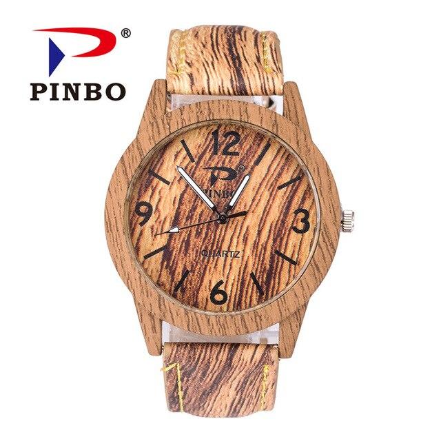 Retro Wooden Men font b Watch b font Erkek Saatler Latest Design Leather Grain Bracelet Casual