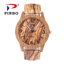 Retro Wooden Men Watch Erkek Saatler Latest Design Leather Grain Bracelet Casual Quartz Watch Women Watches Clock Reloj Hombre