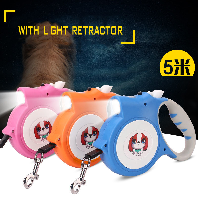 KIMHOME PET Led Lights Automatic Retractable Dog Leash For Dog Nylon Length 5m Dog Leash For Small Medium Dogs Pets Accessories