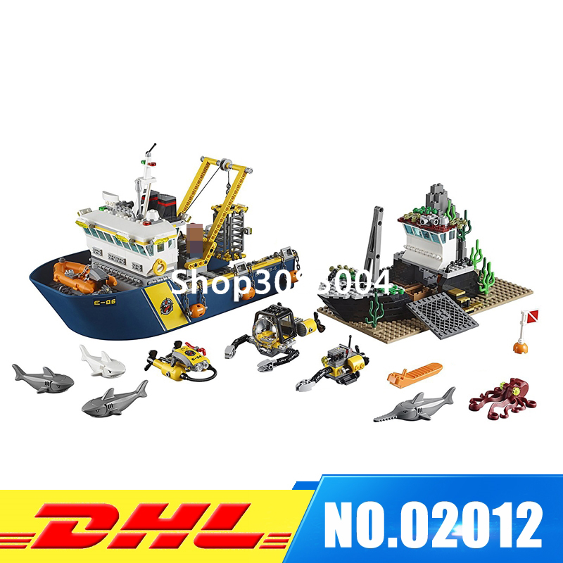 IN Stock LEPIN 02012 774 PCS City Deep Sea Explorers 60095 Exploration Vessel Toy Set Model Building Kits Blocks Girl Gift sermoido 02012 774pcs city series deep sea exploration vessel children educational building blocks bricks toys model gift 60095