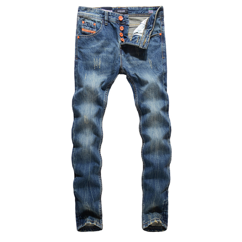 vintage designer men   jeans   blue color straight fit 100% cotton denim casual pants brand classical buttons   jeans   men ripped   jeans