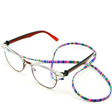 Retro eyeglass sunglasses cotton neck string cord retainer strap eyewear lanyard holder with good silicone loop 3colors option