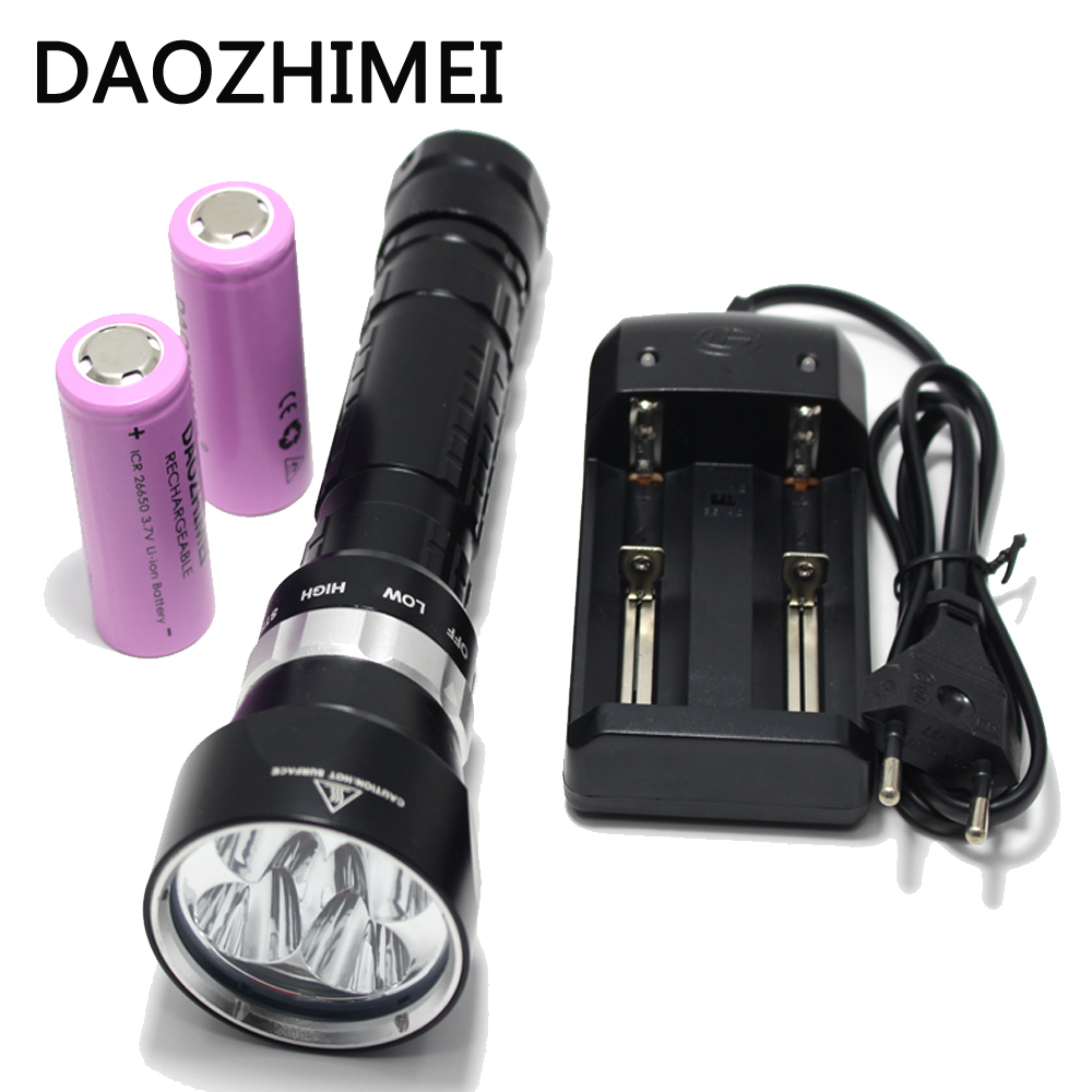 Diving Flashlight 4 x CREE XM-L L2 10000 Lumens Underwater 200m Scuba Diver LED Light Torch By 3.7V 18650 or 26650