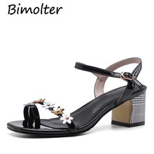 Bimolter NEW Women Floral Strap Sandals High Heels Peep Toe Thick Heel Pumps Lady Beach Street Footwear Summer NC105