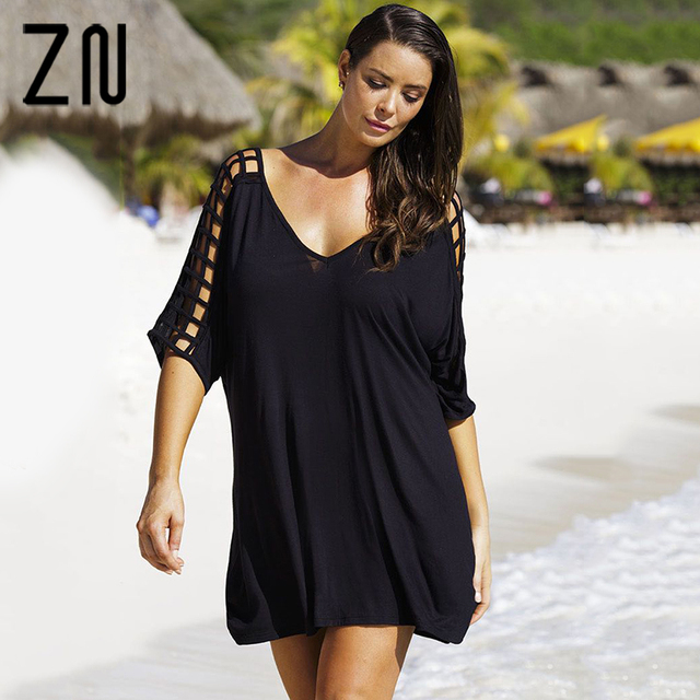 969689bcf4 New Fashion Women's Casual V-Neck Cutout Sleeve Loose Beach Black T-Shirt  Dress Large Size