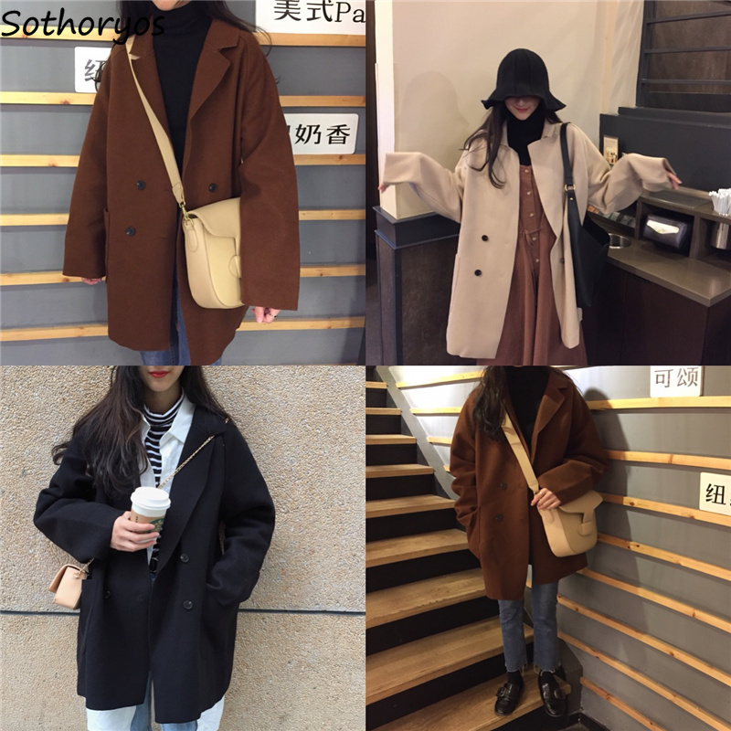 Blends Women Autumn Double Breasted Long Pockets Leisure Solid All-match Korean Style Coats Womens Loose Trendy Simple Blend