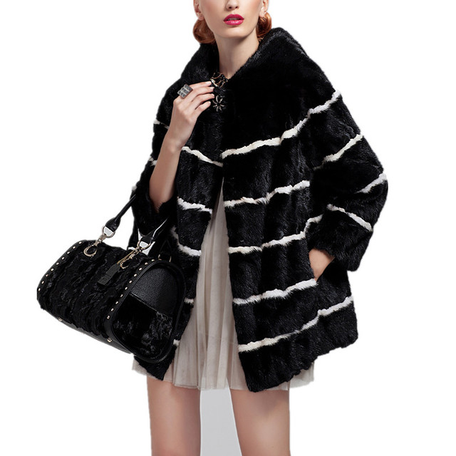 C160-Luxury Stripe black  women's winter jacket with genuine mink fur.medium-long design full sleeve autumn elegant fur coat