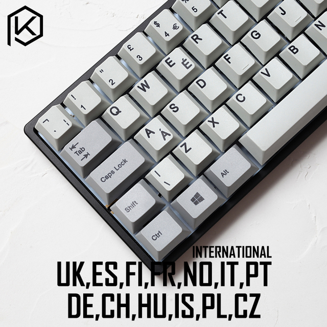 kprepublic international norde EU UK ES FI FR NO IT PT DE HU vowel letter Cherry profile Dye Sub Keycap thick PBT for keyboard