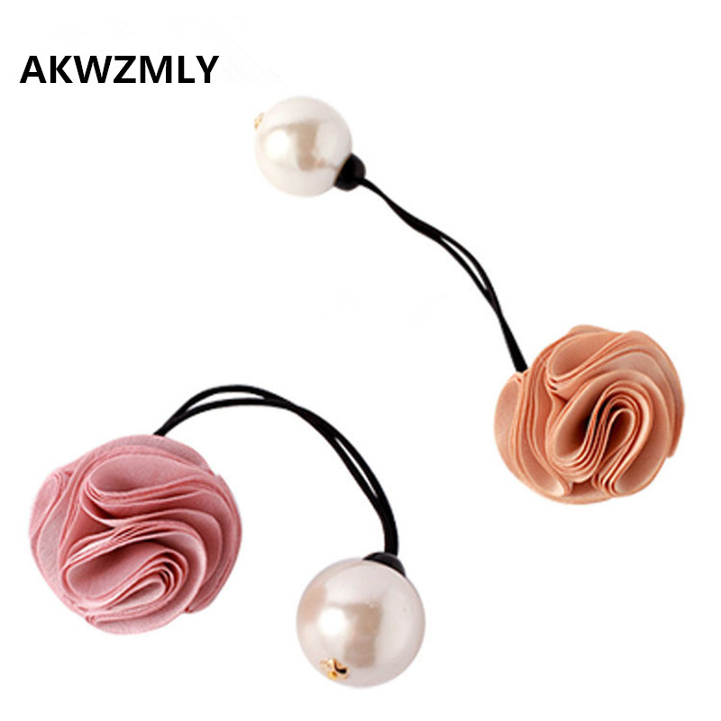 2017 Sale Adult Elastic Rubber Bands Cloth Floral Headband Fashion Koreas High-end Tie Ropes Pearls Women Hair Accessories