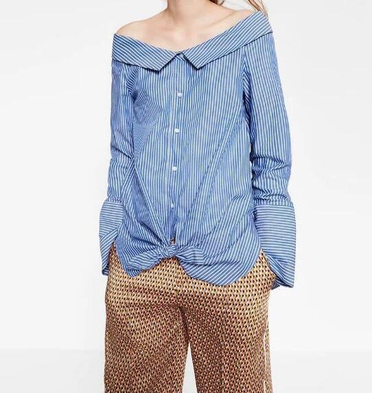 US $19.9 |Vrouw Nieuwe 2016 Herfst Mode Blauwe Gestreepte Poplin Shirt de schouder Front Knoppen Lange Mouwen Blouse Tops in Vrouw Nieuwe 2016 Herfst