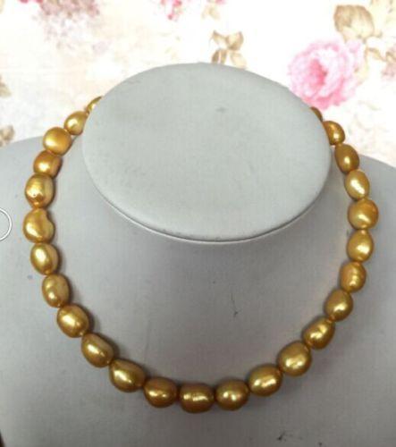 Dom mulheres palavra Amor generoso das mulheres Moda Jóias 18 polegadas 12-13mm natural de ouro barroco cultivadas de água doce pérola colar