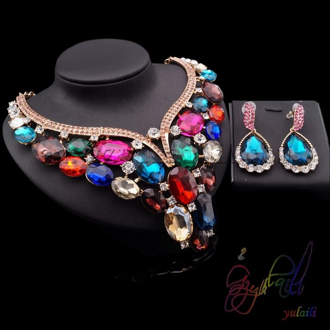 Yulaili Hot Sell Water Drop Design Cubic Zircon Plated Gold Copper Ladies Wearing Jewelry SetsYulaili Hot Sell Water Drop Design Cubic Zircon Plated Gold Copper Ladies Wearing Jewelry Sets