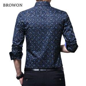 Image 2 - BROWON Spring Autumn 2020 Brand Luxury Men Shirt 100% Cotton Print Design Long Sleeve Slim Shirt for Man Floral 2018 Camiseta