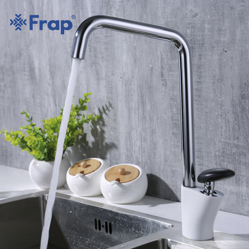 Frap new arrival Hot and Cold Water mixer modern brass single handle kitchen faucets sink faucet with black Round handle y40006 frap new kitchen faucet dual handle nickle kitchen mixer tap sink brass purification cold and hot water torneira cozinha f4352 5