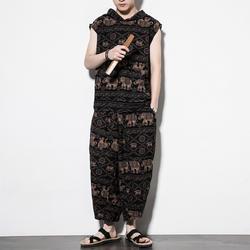 Для мужчин комплекты из 2 предметов (футболка + брюки) китайский Стиль свободные Повседневное хлопок белье топы широкие брюки мужские