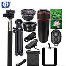 Big discount APEXEL 10 in 1 Universal 12X telescope lens+ fisheye lens+Macro lens+wide angle lens With Selfie Stick Monopod for IOS Android