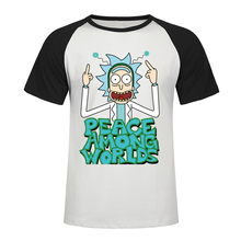 2019 New Rick And Morty Middle Finger T Shirt Men Cotton Raglan Tshirt Short Sleeve T-Shirt Funny Tee Summer Top Streetwear two tone raglan sleeve tee
