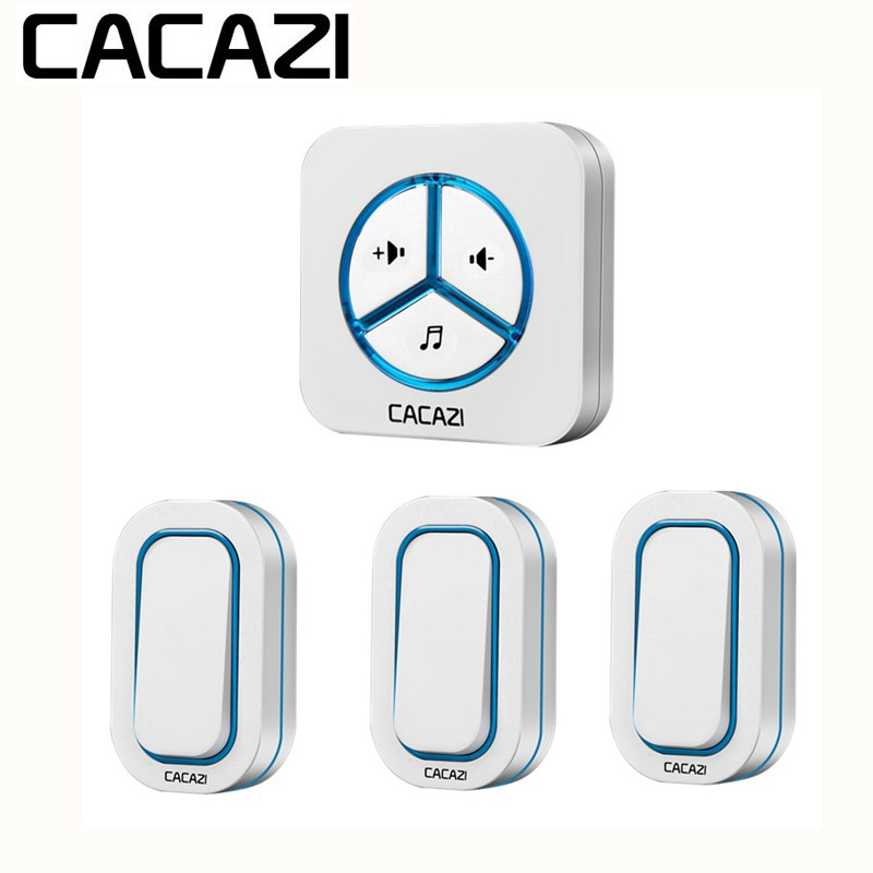 CACAZI Wireless Battery Doorbell Waterproof Smart Household Ring bell 48 Songs Call 12V23A 280M Remoto US EU UK Plug AC 110-220V wireless cordless digital doorbell remote door bell chime waterproof eu us uk au plug 110 220v