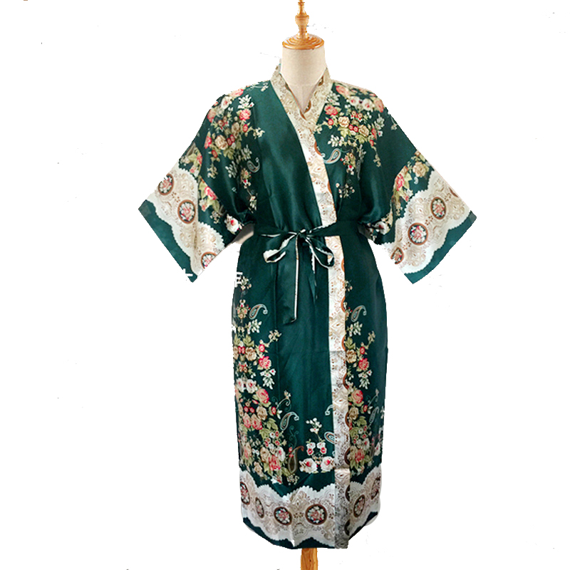 Factory Direct Selling Green Chinese Men Satin Rayon Robe Print Kimono Bath Gown Summer New Casual Home Wear Male Nightwear