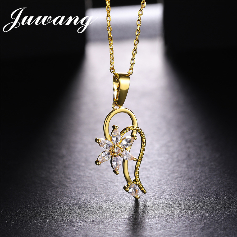 JUWANG Brand Shining Rainbow Flower Cubic Zircon Pendant Necklace for Women Girl Gold Chain Necklace Jewelry Gift Wholesale