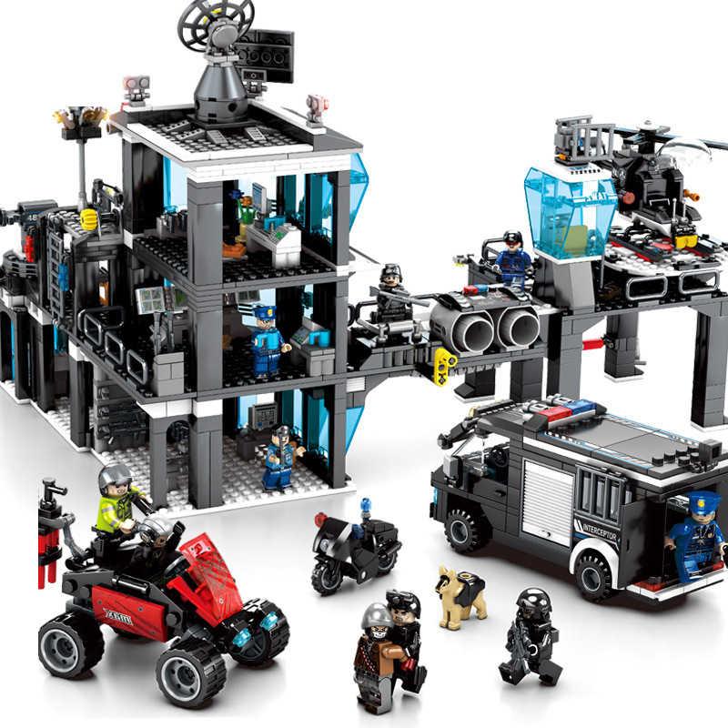 Bộ 1464 Trẻ Em của các khối xây dựng đồ chơi Legoingly Cảnh Sát thành phố Đen Hawk Lực Lượng Đặc Biệt Trụ Sở Cảnh Sát Viên Gạch quà tặng sinh nhật