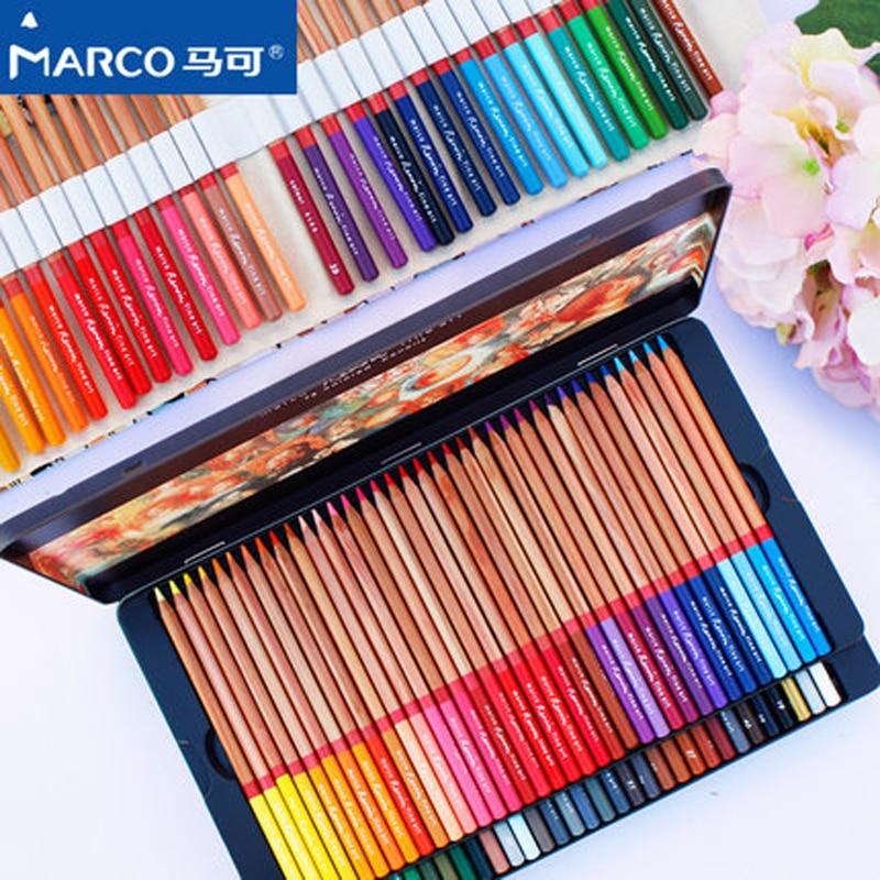 Marco Renoir 24/36/48/72/100 Color Oily Color Pencils Lapices De Colores For Coloured Drawing Pencil Set Art Supplies marco 24 36 48 72 color set watercolor colored pencil professional drawing pencils school pencils lapices de color art supplies