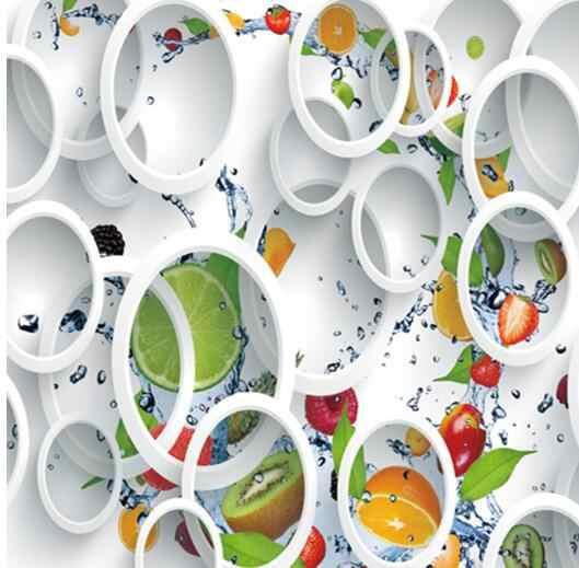 На заказ Современная Минималистичная настенная фотообои белое кольцо цикл фрукты настенная Фреска Абстрактное Искусство Настенная бумага спальня настенный Декор