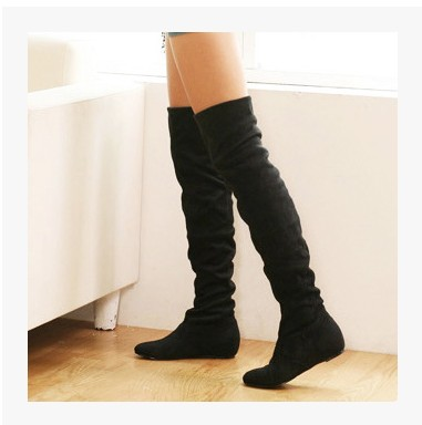 Thigh High Boots Flat Heel - Cr Boot