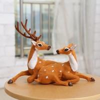 35cm 2pieces Christmas Deer Doll Flock Cloth Christmas Family Decoration Toy Santa Claus Jr Ornaments Natal