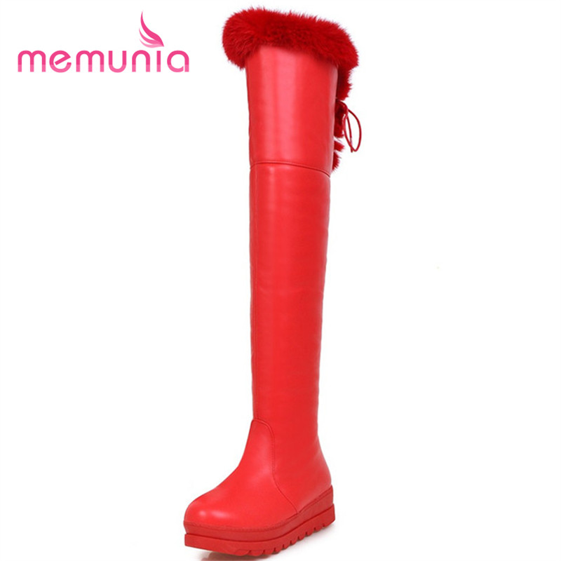 MEMUNIA Winter boots fashion warm women shoes platform over the knee boots rabbit hair round toe big size 34-43