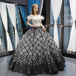 J66758 jancember пышные платья 15 бальное платье с открытыми плечами лодочкой шеи длиной до пола выпускное платье vestidos de quinceaneras