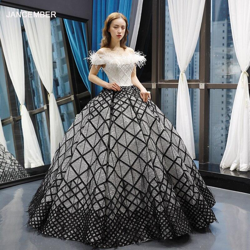 J66758 jancember quinceanera robes 15 robe de bal hors de l'épaule bateau cou étage longueur robe de bal robes de quinceaneras