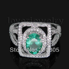 Oval 5x7mm 14Kt White Gold Diamond Emerald Engagement Ring 585 White Gold SR131A