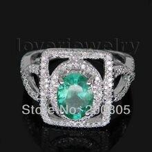 Oval 5x7mm 14Kt White Gold Diamond Emerald font b Engagement b font font b Ring b